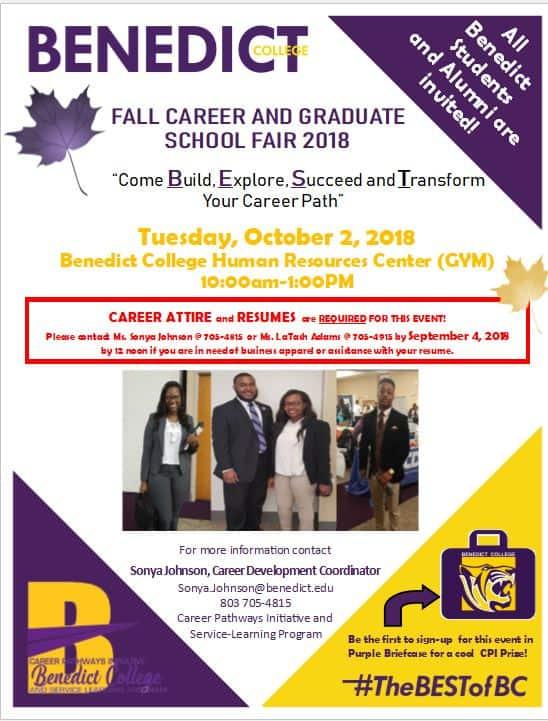 2018 Fall Career and Graduate School Fair - Benedict College