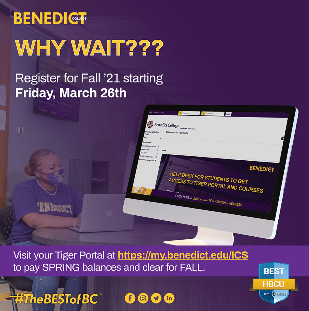 Why Wait??? Register for Fall '21 starting Friday, March 28th.