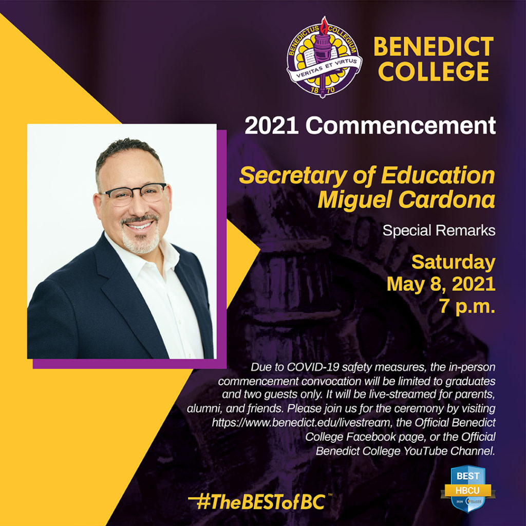 2021 Commencement Special Remarks. Secretary of Education Miguel Cardona. Saturday, May 8, 2021, 7PM.